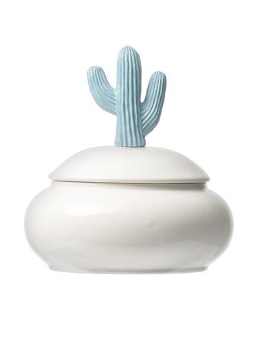 Warm Design Porselen Kaktüs Mücevher Kutusu  Mavi